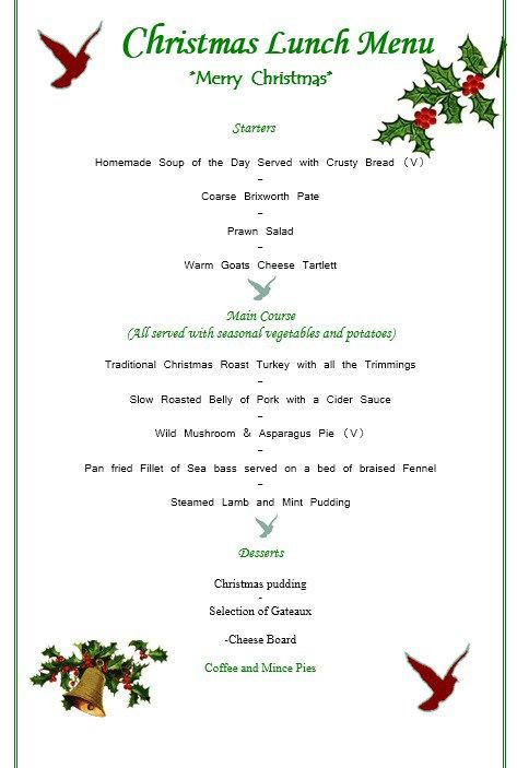 Christmas Party Menu Template Stationary Templates Pinterest - lunch menu template free