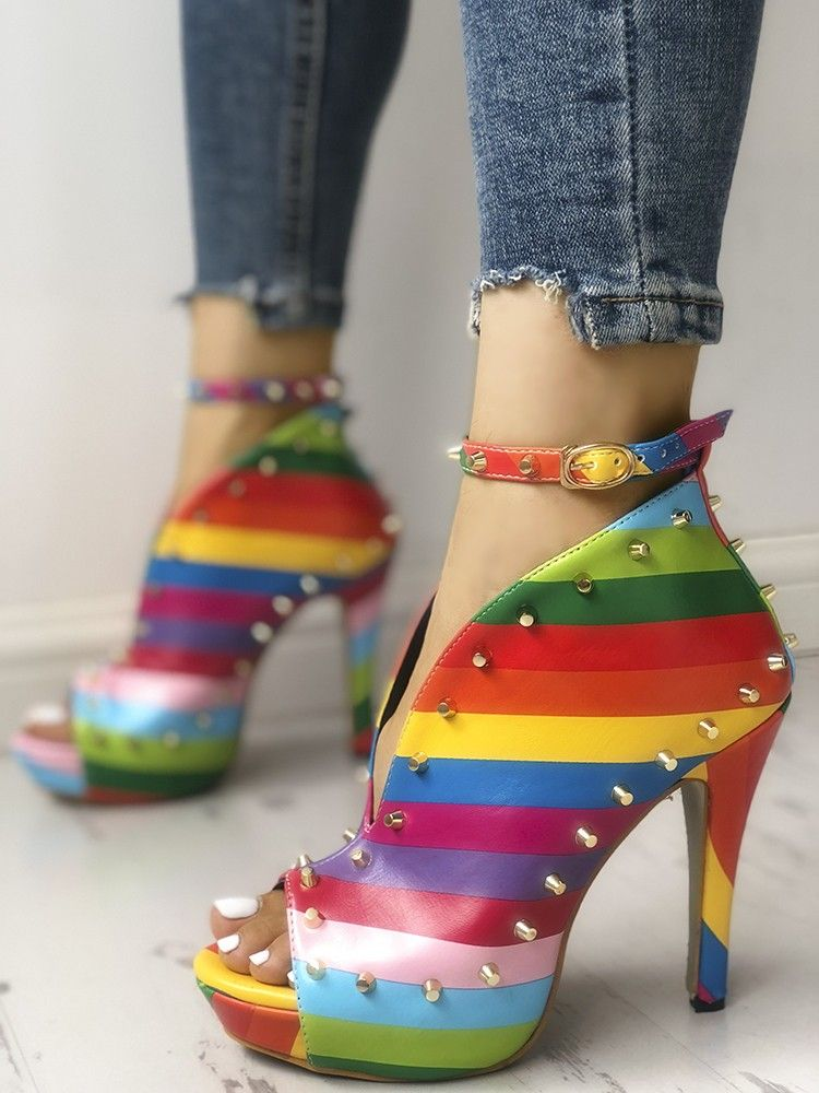 Rivets Embellished Rainbow Striped Buckled Thin Heels  96f6a013d072