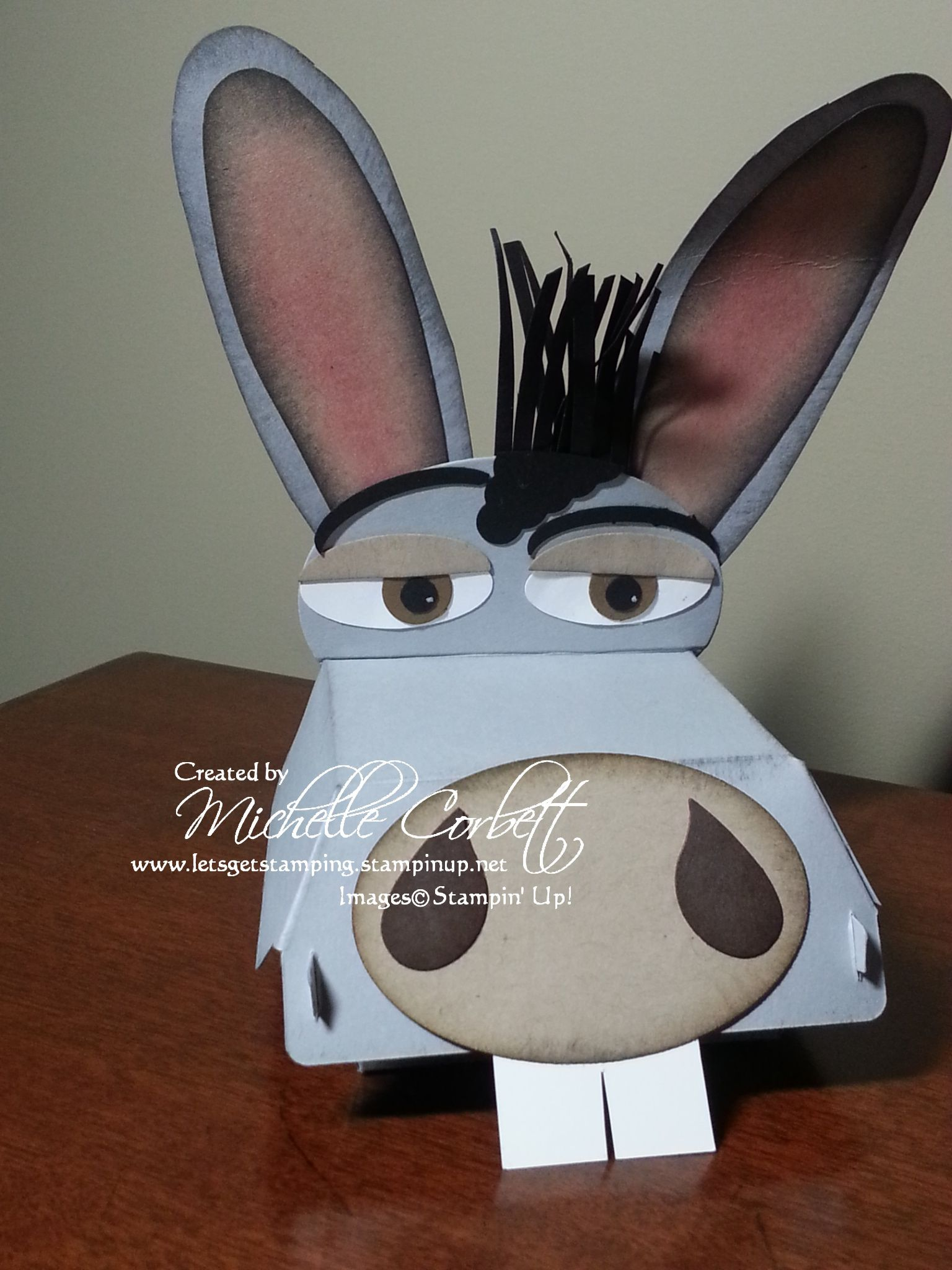 Hamburger Box Donkey Made From Stampin Up Dies And Punches