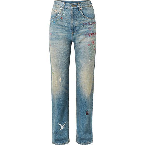 Embroidered Distressed High-rise Straight-leg Jeans - Mid denim Gucci ql1P7NKZ7