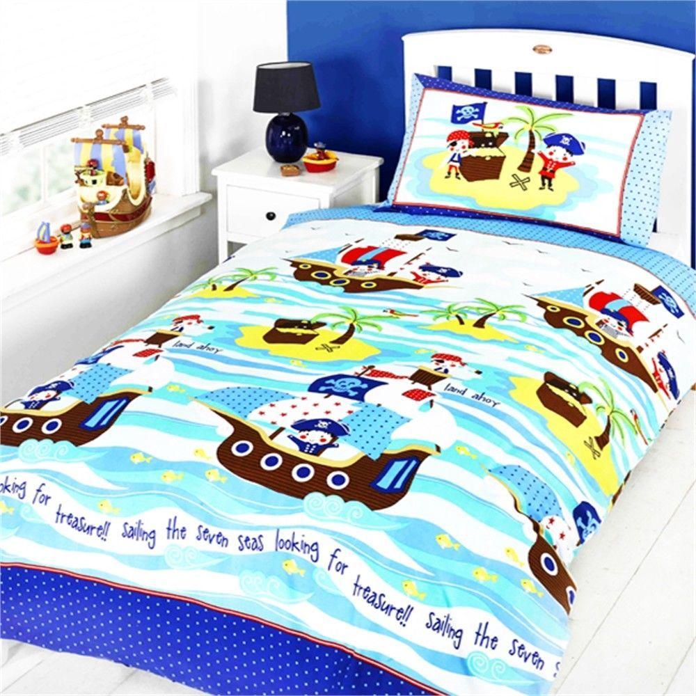 Single blau KIDS CLUB Sea Piraten Bettw/äsche Bettbezug und Kissenbezug-Set Polyester-