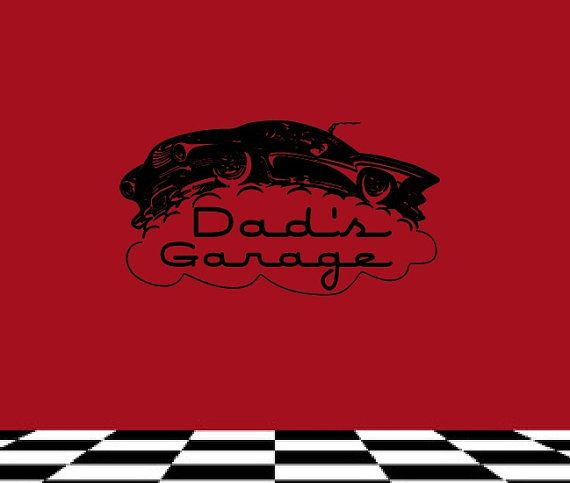 Vinyl Wall Decal Personalized Hotrod Car Garage On Etsy - Custom vinyl wall decals for garage