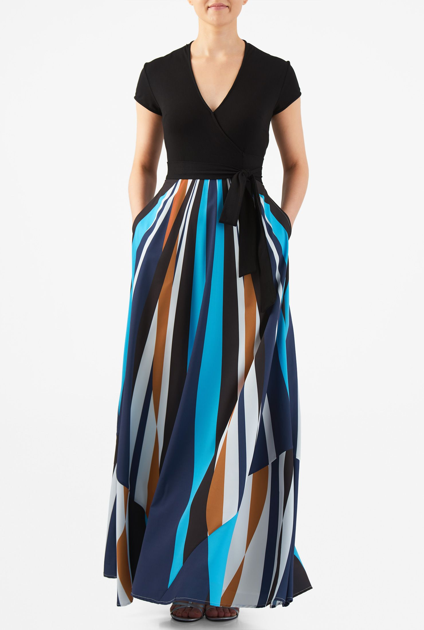 Seamed crepe dress in color block maxi dress