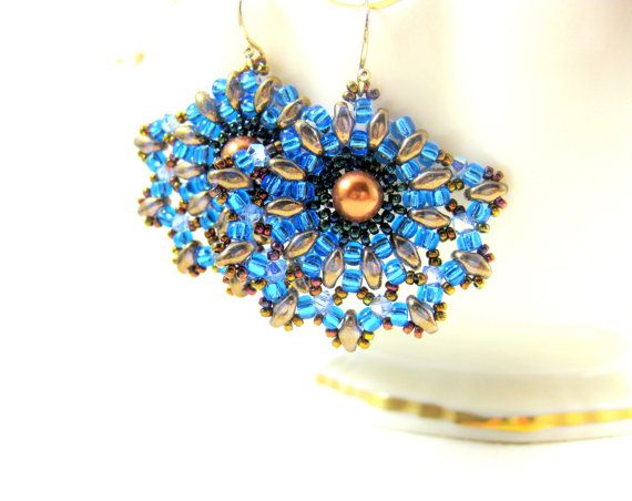 Blue Brown Bronze Earrings, Fan Earrings, Beadwork Earrings, Blue Gold Beaded Earrings, Beadwoven Earrings, Seed Bead Earrings - Fantail by GlassRiverJewelry, $28.00