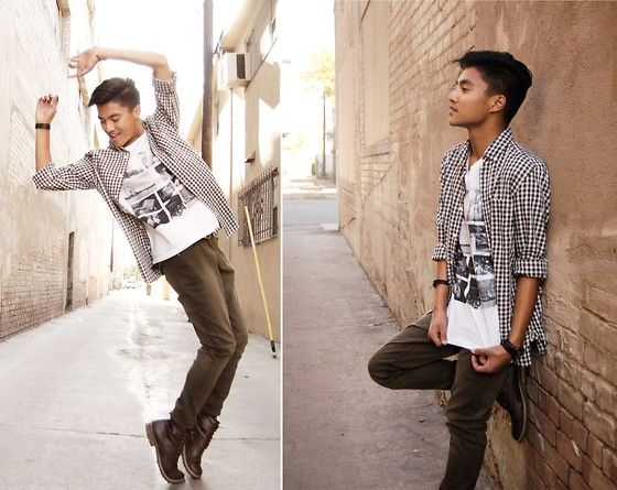 Get this look: http://lb.nu/look/6225025  More looks by Justin Cabal: http://lb.nu/justincabal  Items in this look:  Cotton On Graphic Tee, H&M Checkered Shirt, H&M Olive Chinos