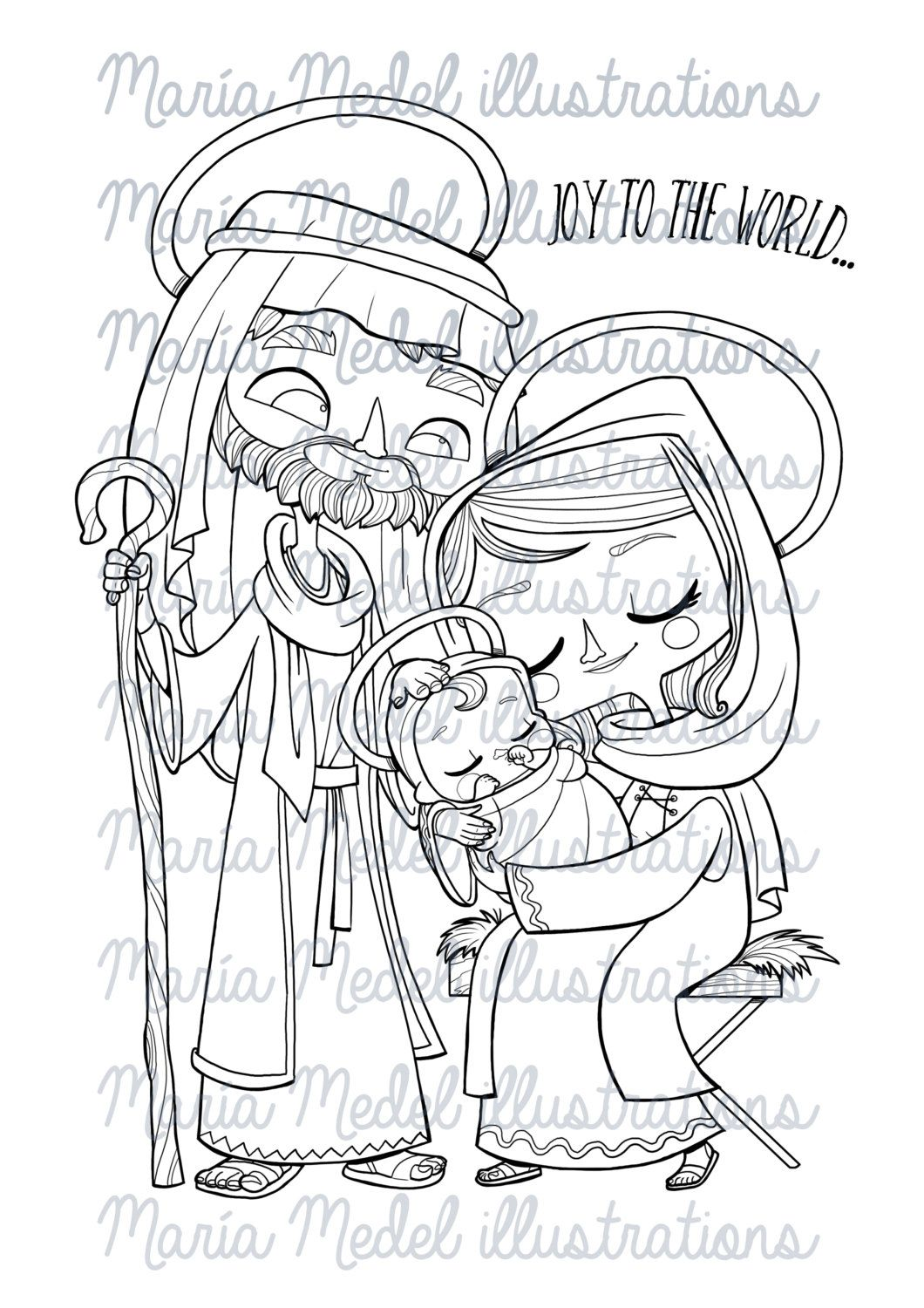 DIGISTAMP COLORING page. Holy Family. por MMedelIllustrations   my ...