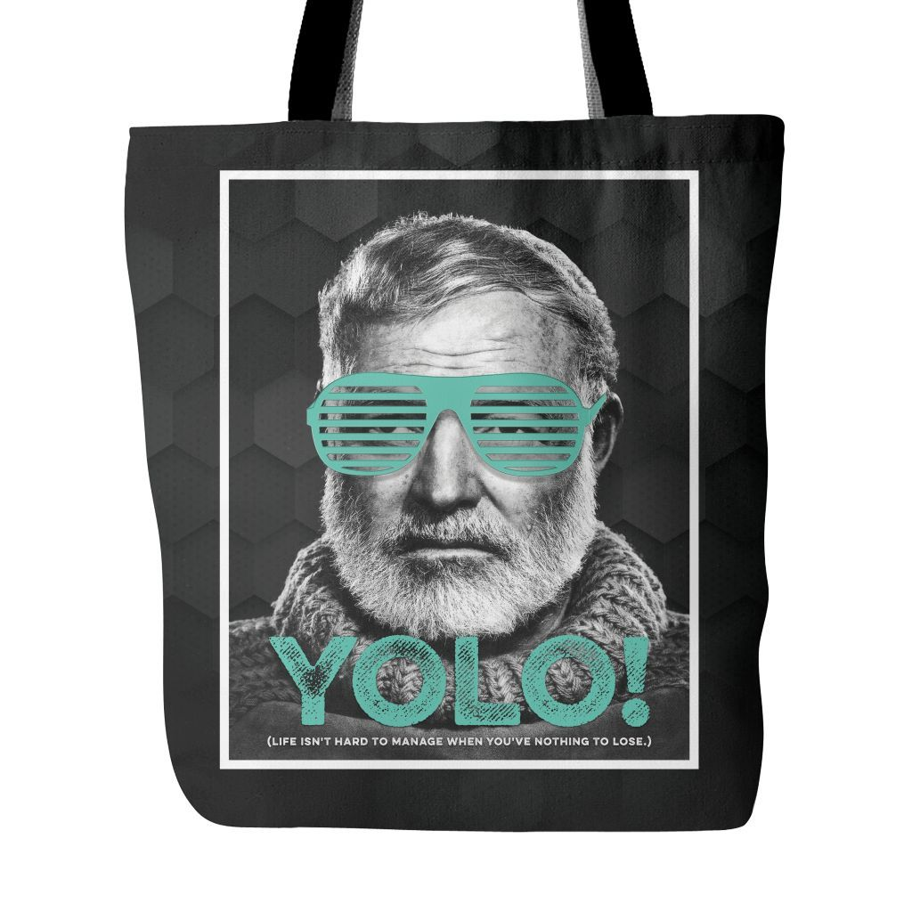 YOLO Hemingway Tote Bag