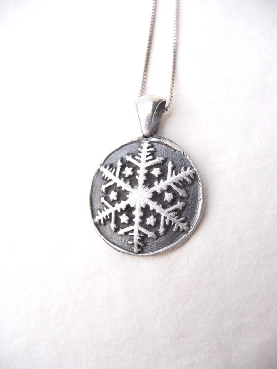 Frozen snowflake winter necklace pendant made by DreamofaDream