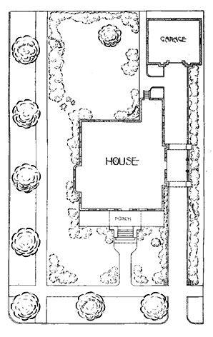 landscape design plan of house with detached garage