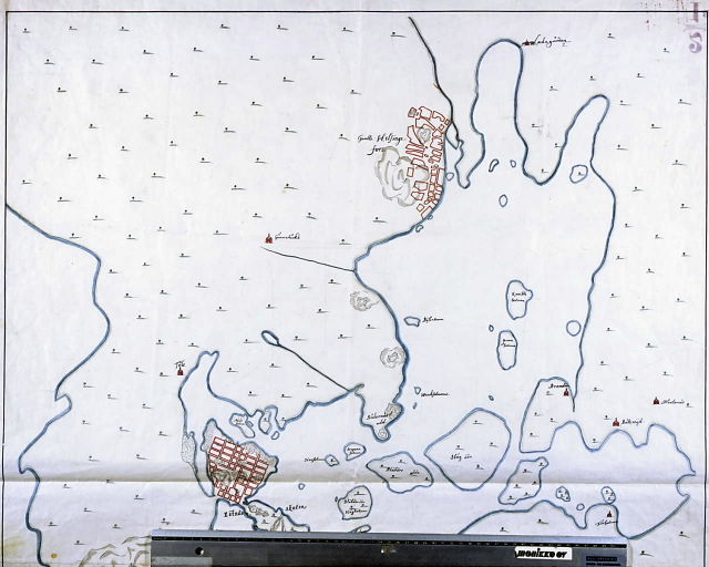 Helsinki 1645; kartassa sekä Vanhakaupunki että suunniteltu uusi kaupunki. Lähde: sinettiarkisto.hel.fi