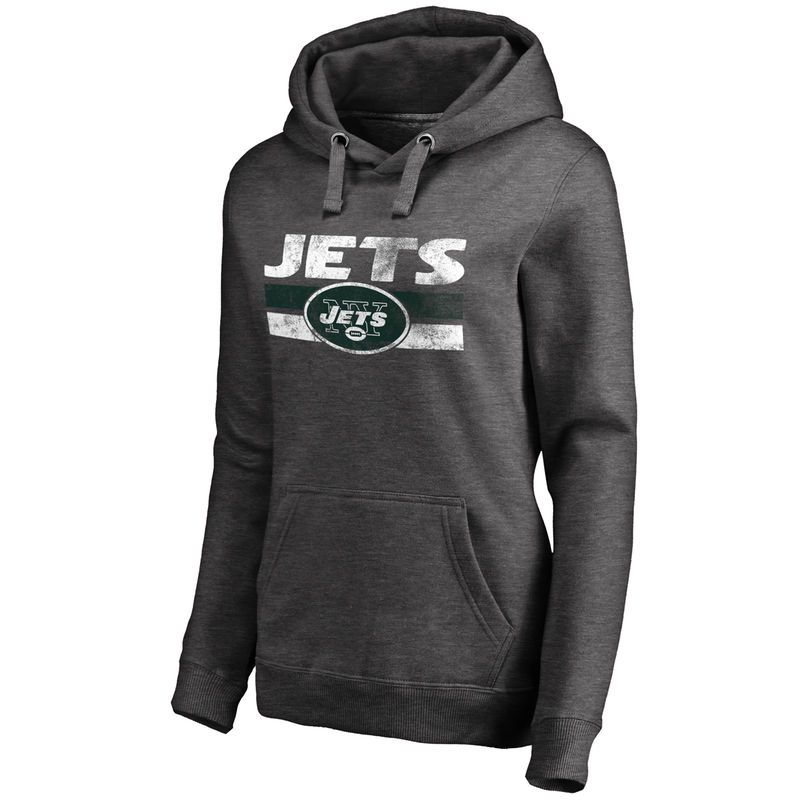 364ebaaa6 New York Jets NFL Pro Line Women s First String Pullover Hoodie - Dark  Heathered Gray