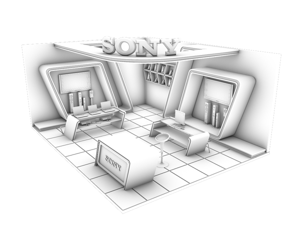 Exhibition Stall Sketch : Sony exhibition stall on behance booth design exhibition stall