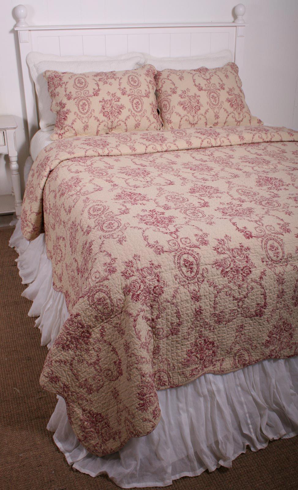 Floral Urn Toile Burgundy Red Ecru Cotton Quilt Set   Decor ...