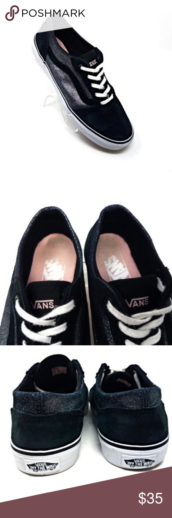 d275583c81aa94 Vans Off The Wall Black Suede Silver Sparkle Lace Black suede uppers Silver  sparkle side-panel accent No tread wear Lace-up closure Actual  Measurements  TAG ...