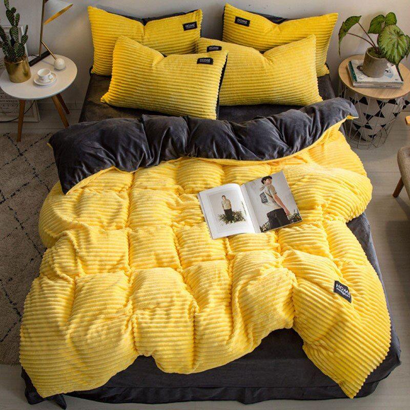 Simple Flannel Velvet Bedding Set 4pcs Queen Solid Duvet Cover Crystal Velvet Sheets Pillowcase Winter Thick Warm Q Velvet Bedding Sets Bedding Set Solid Duvet