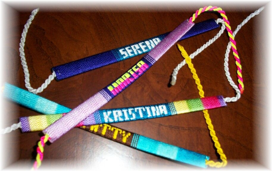 Making Mexican Jewelery Fiber Name Bracelets With Silver Plates