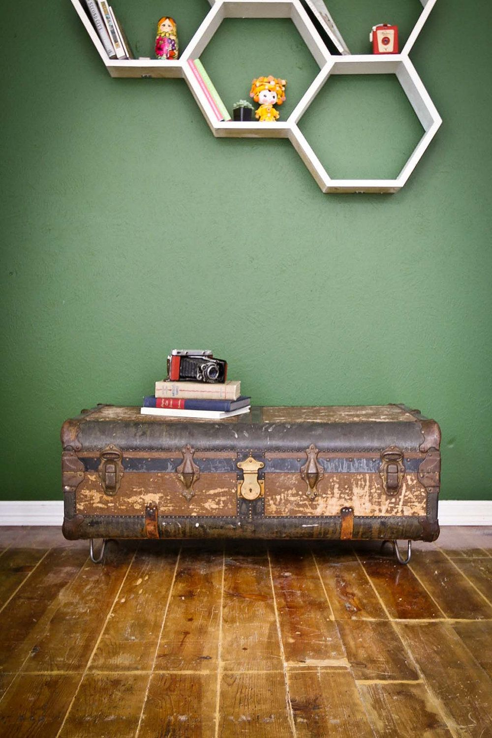Vintage Suitcase Coffee Table with Hairpin Legs. $595.00, via Etsy. Hey, K