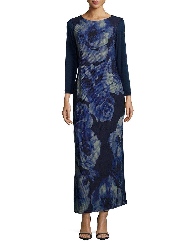 Rosetteprint longsleeve maxi dress womenus products pinterest