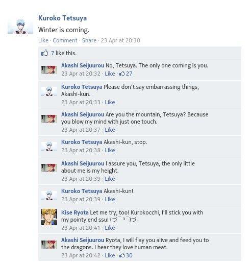 Akashi Using Game Of Thrones Pickup Lines Lol Xd My Criminal Mind Kuroko No Basket Kuroko No Basket