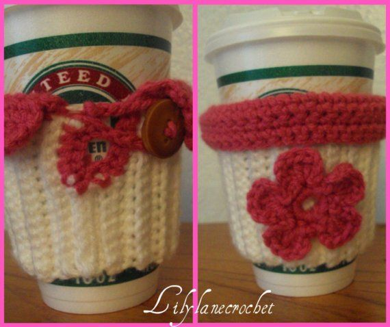 Crochet Coffee Cup Cozy Sleeve with Pink Flower by LilyLaneCrochet, $8.00