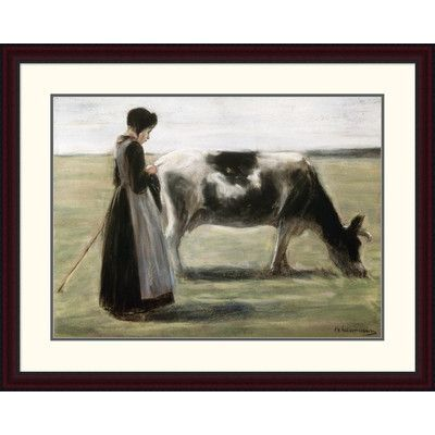"Global Gallery 'Das Madchen Mit Der Kuh' by Max Liebermann Framed Painting Print Size: 30.11"" H x 38"" W x 1.5"" D"