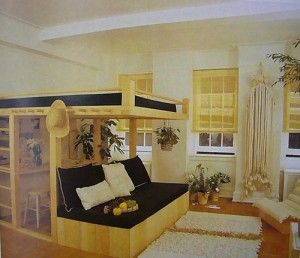 Amazing well designed loft bed perfectly accented with a couch below and a king size bed above