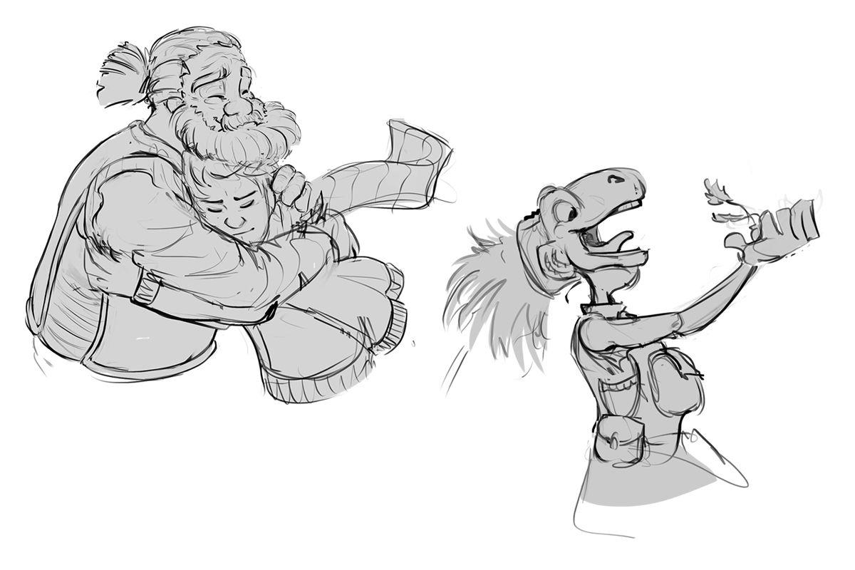Bocetos de Elias, Azahar y Tervin #ConceptArt #Bocetos #Ilustraciones #Animación #thelastflightofthewind #elultimovuelodelviento