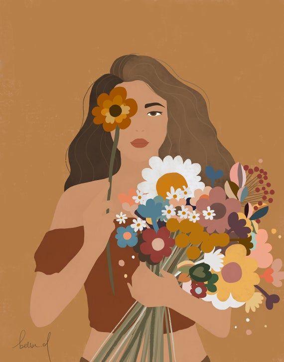 Girl with Flower Illustration, Woman illustration print, Fashion Illustration, Girl Art, Illustration Print, Digital Art, Wall Decor, Gift