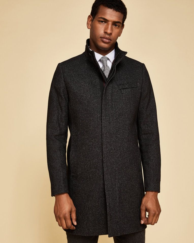 daee963e5c5a Funnel neck textured coat - Charcoal