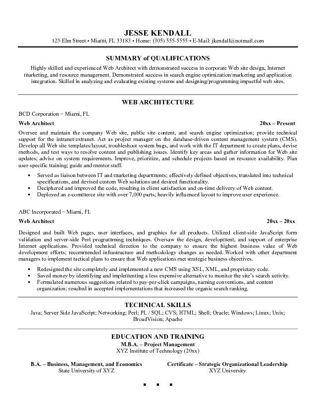 Architecture Resume Sample If you want to get an architecture job - summary of qualifications resume examples