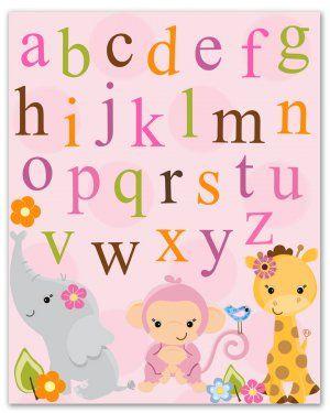 8x10 jungle animals art print room nursery wall decor baby girl boy