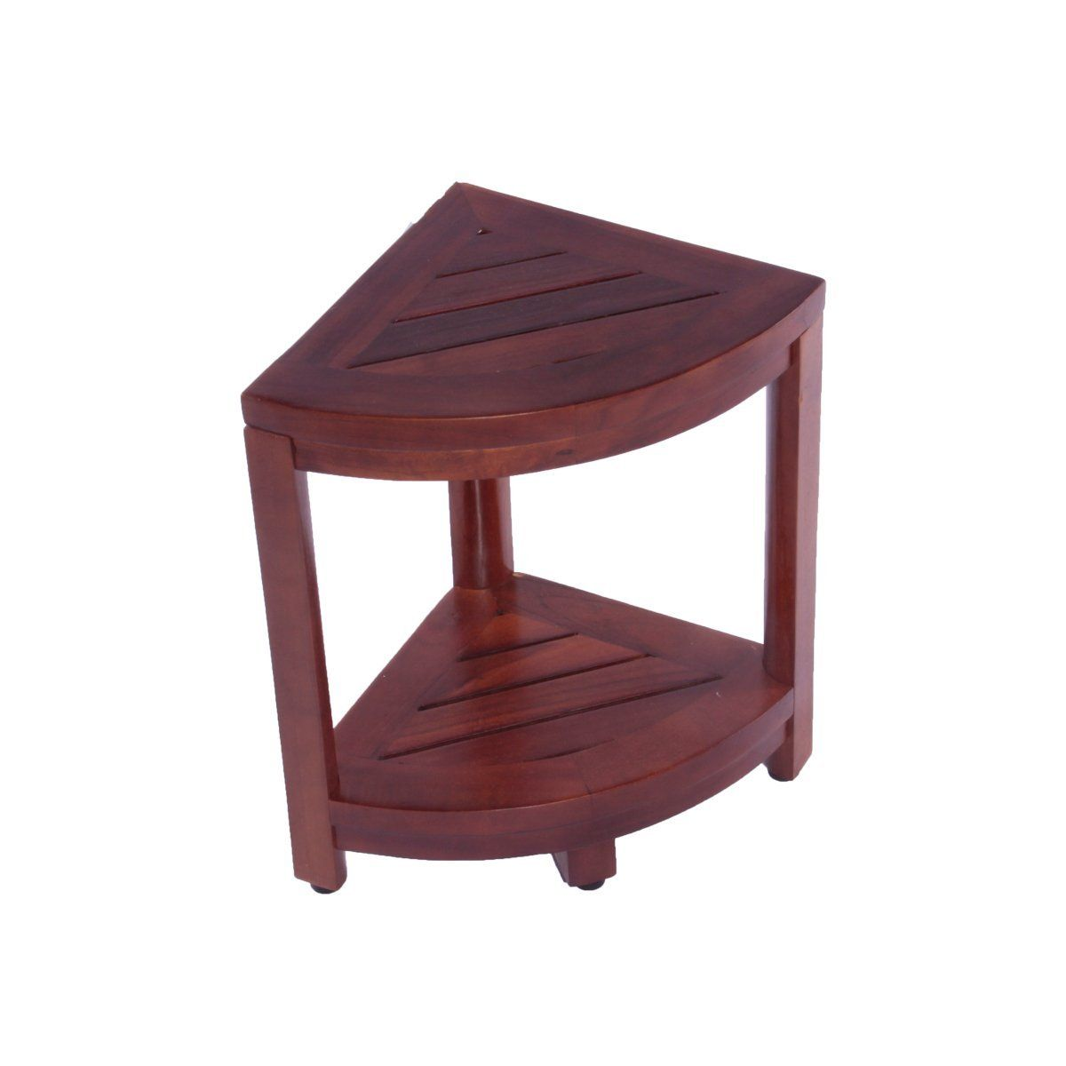 13 X 13 5 Teak Corner Shower Bench With Fan Design Top With