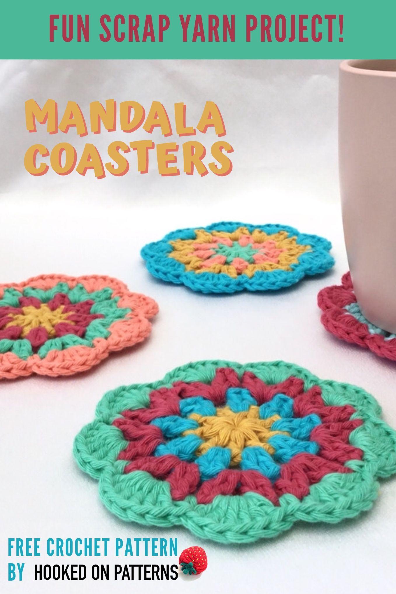 Free Mandala Coasters Crochet Pattern #crochetmandalapattern