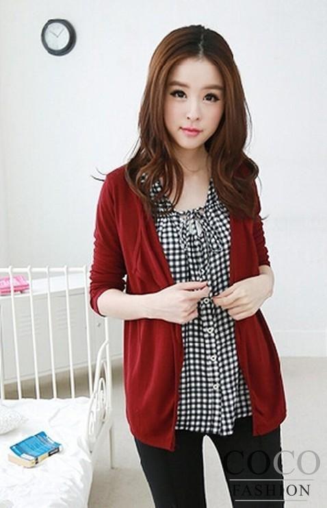 Red Loose Irregular Cut Thin Fall 2014 Korean Design Ladies Cardigan Simple!