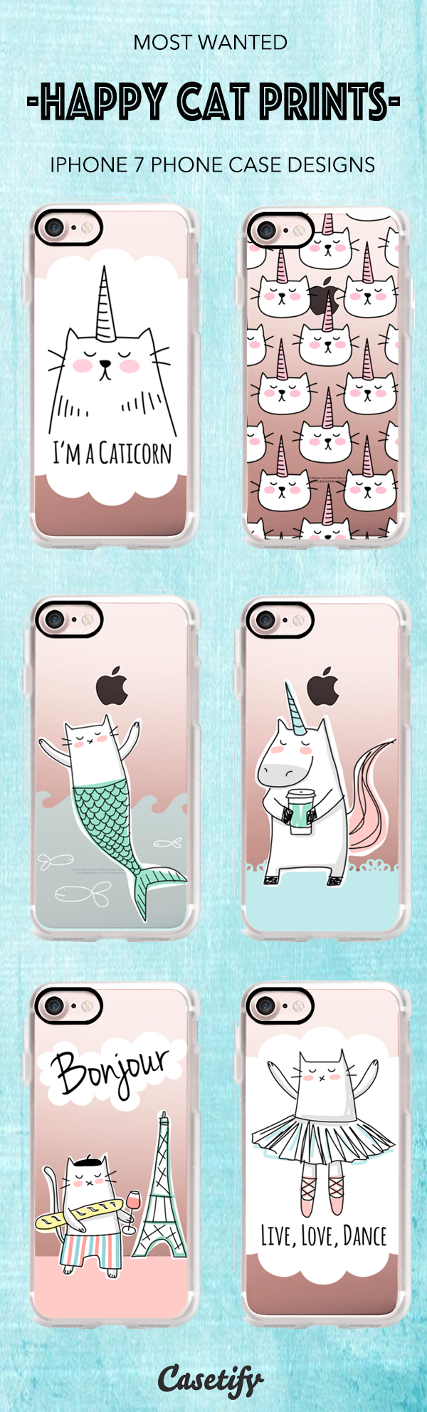 Shop these Most Wanted Happy Cat Prints iPhone 7 and