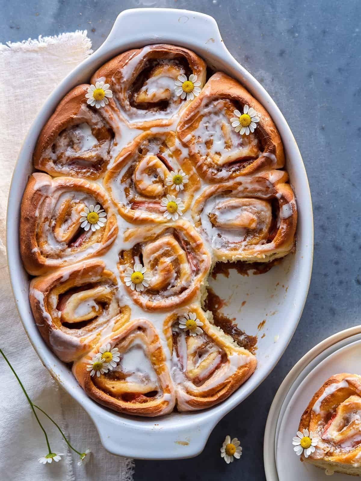 Strawberry Studded Cinnamon Rolls with Chamomile-Vanilla Glaze