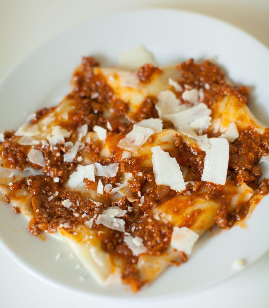 Potato Ravioli with Bolognese Sauce #bolognesesauce
