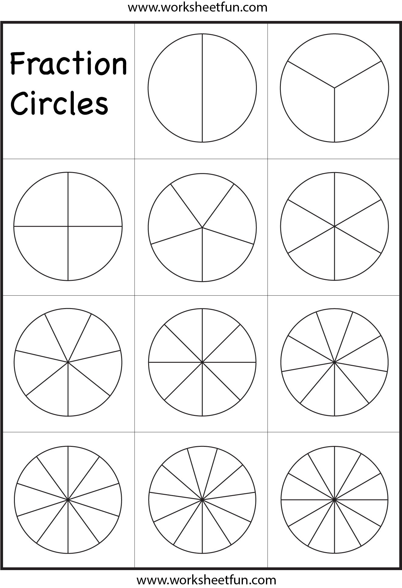 fraction circles worksheet  fraction worksheets  pinterest  math  fraction circles worksheet