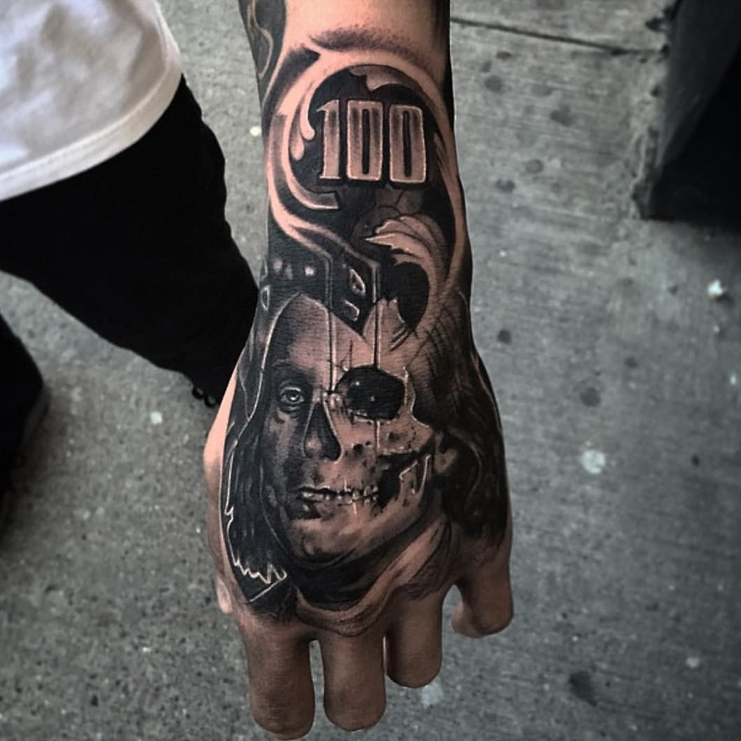 Here S A Hand Piece From A While Back Bullseyetattooshop On My Boy Natenice Cantstopwontstop Hustle Hand Tattoos For Guys Money Tattoo Cool Forearm Tattoos