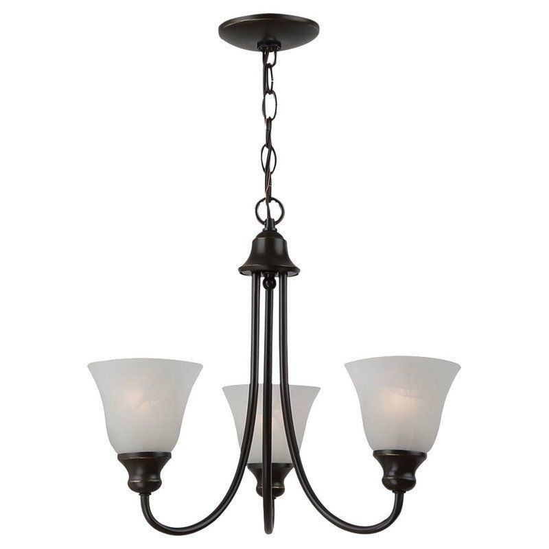 Sea Gull Lighting 35939BLE Windgate 3 Light Single Tier Energy Star Title 24 Min Heirloom Bronze Indoor Lighting Chandeliers