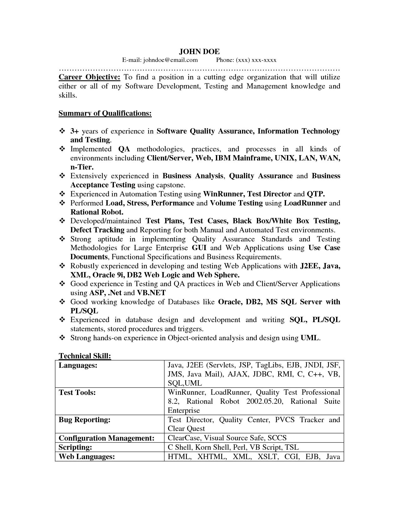 QA resume Resume objective sample, Career objectives for