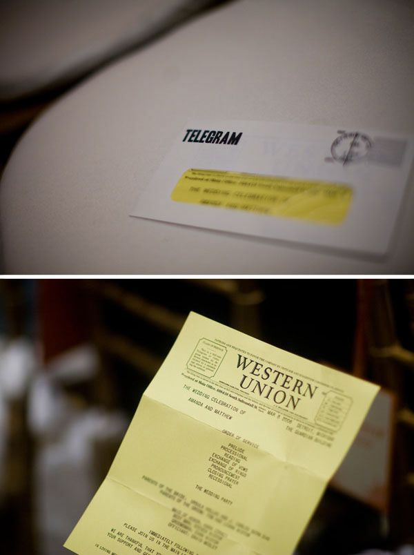 Western Union Telegram Template Wedding Programs