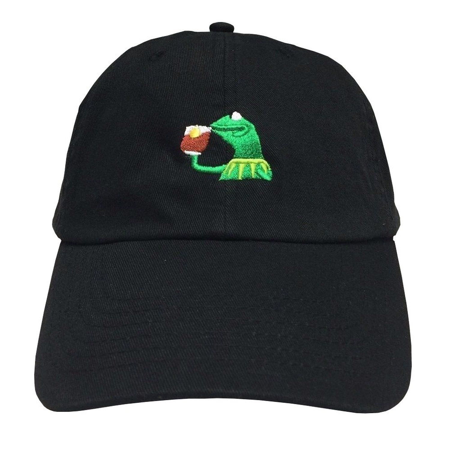7f5981a14ef1 Amazon.com  KERMIT TEA Hat StrapBack none of my business Emoji Frog James  meme Cap  Clothing