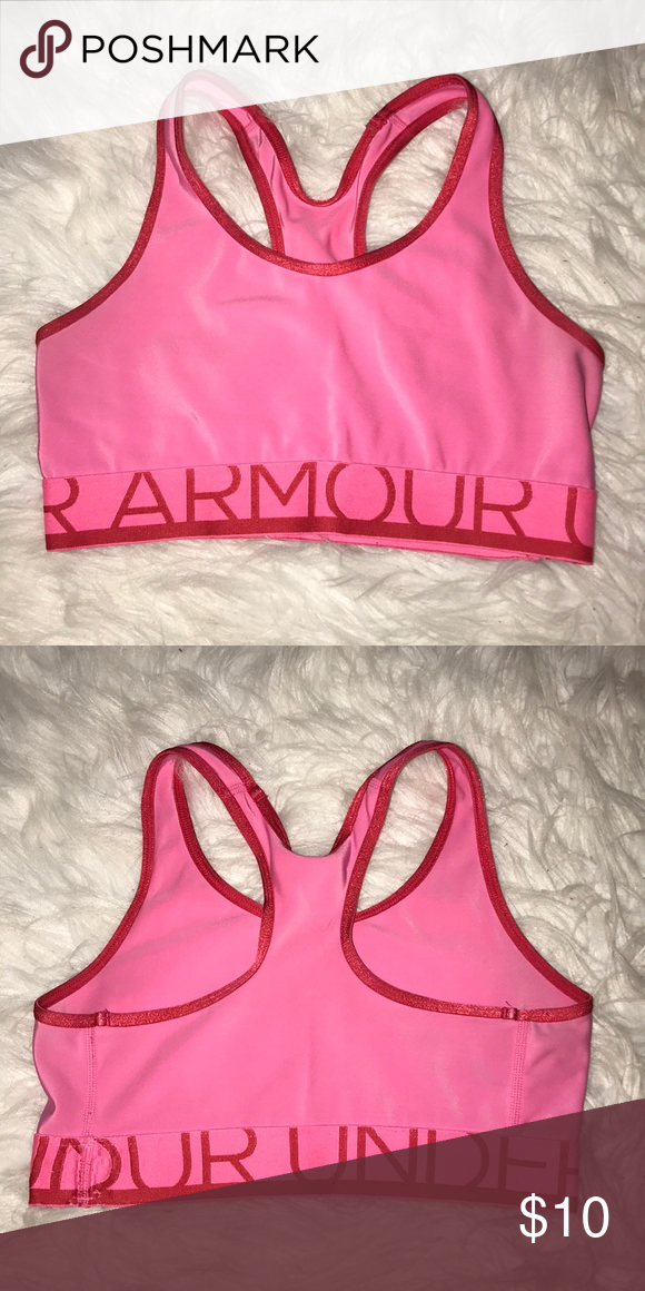 7be9702f61 Pink Under Armour sports bra Bright pink and red Under Armour sports bra  Size small (