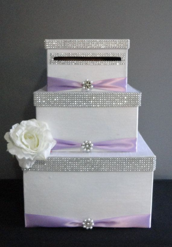 White Shantung Silk W Lilac Card Box Money Holder More Colors Available Card Box Wedding Money Card Box Wedding Cards