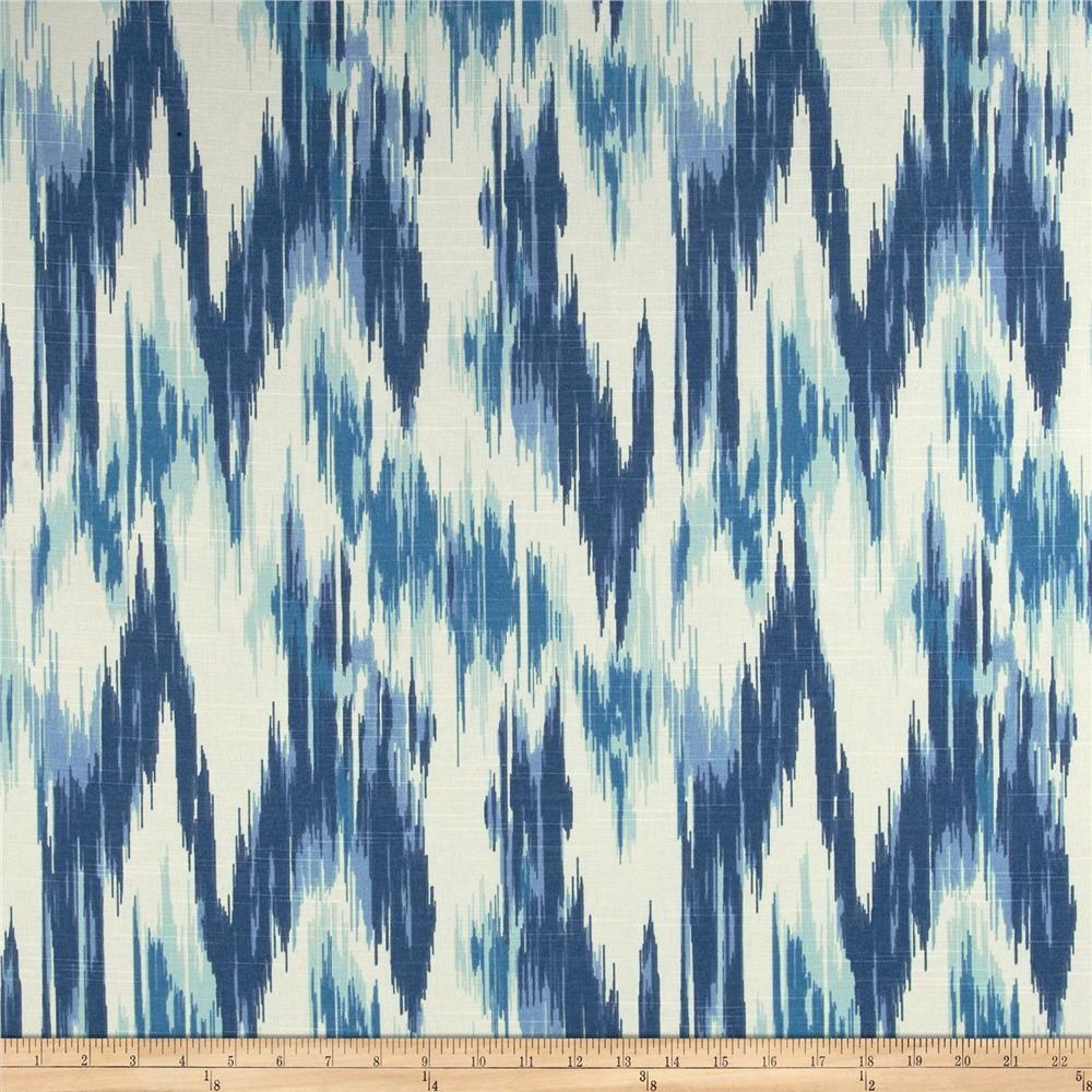 Superbe Home Accents Casbah Ikat Slub Baltic Blue From @fabricdotcom Screen Printed  On Cotton Slub Duck