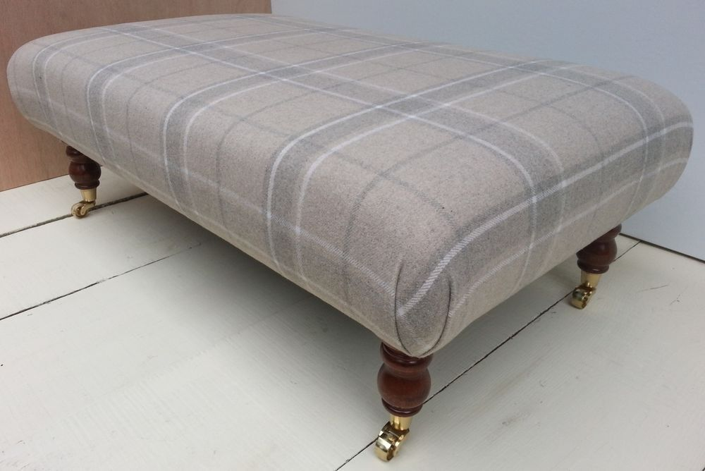 New Large Footstool Table Laura Ashley Highland Check Wool 3