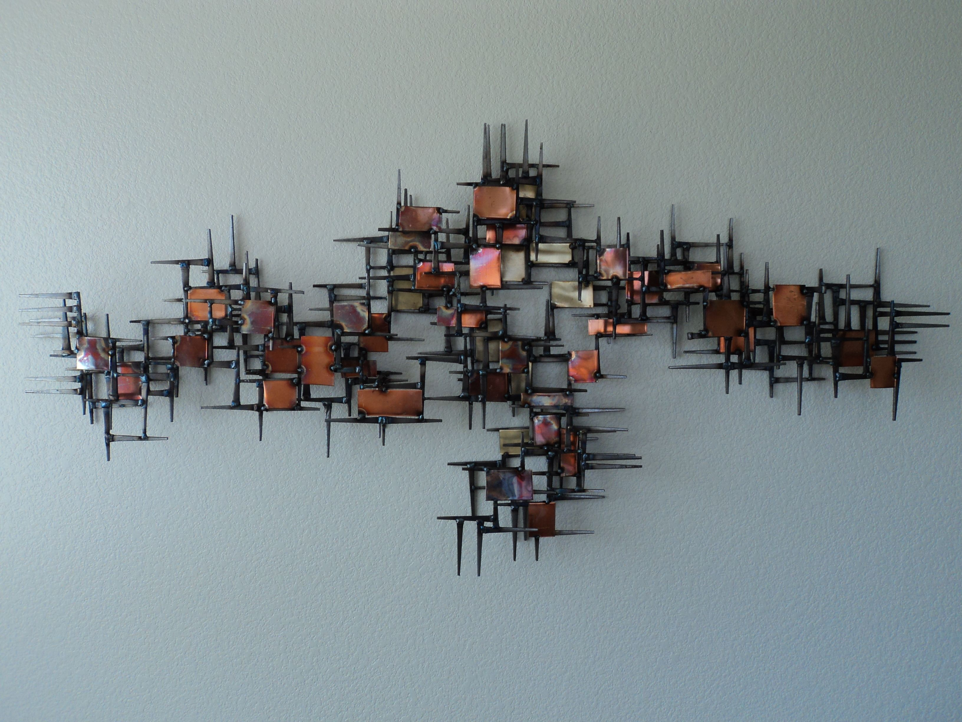 Metal Sculptures And Art Wall Decor: Vintage Mid Century Abstract Metal Nail Wall Sculpture