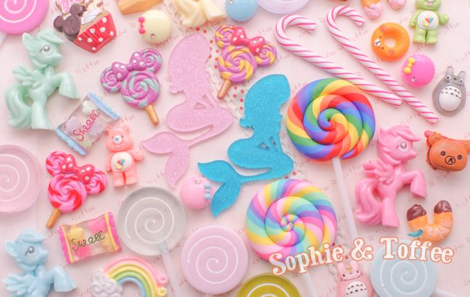 20 PINK Kawaii Resin Cabochons Cute Pastel Flatback Charms Decoden Animals Candy