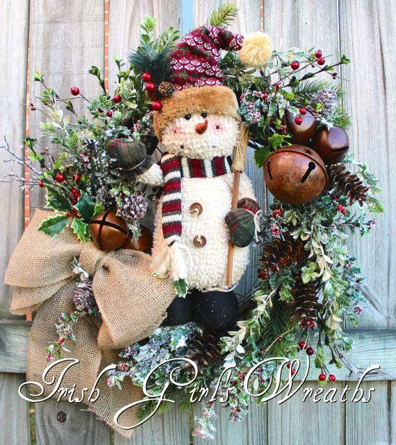 Rustic Adorable Snowman Wreath Snowman by IrishGirlsWreaths
